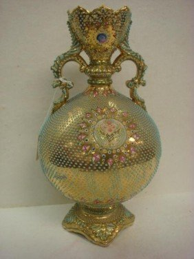 COALPORTIA NIPPON Heavy Enamel Beaded Handled Vase