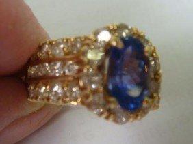 Elegant Tanzanite With Diamond Custom Ladies Ring: