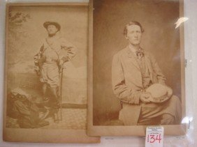 CIVIL WAR, JOHN S. MOSBY, 2 Period Studio Photo Ca