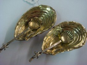 Pair Of GORHAM Sterling Silver Shell Salts & Spoo