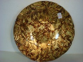 Contemporary Italian Gold Leaf Glass Center Bowl: