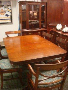 Nine Piece Mahogany Dining Room Set: