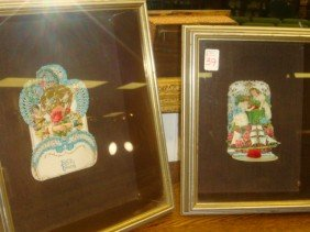 Two Victorian Pop Up Valentines In Shadowbox Frames