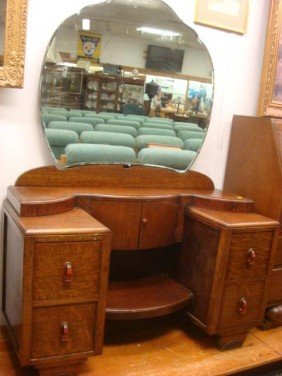 Four Drawer Oak Deco Vanity With Mirror: