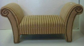 Small Rolled Arm French Influenced Bench: