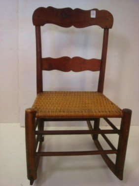 Side Rocker With Woven Reed Seat: