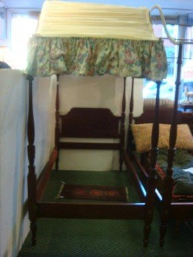 Pair Of Mahogany Twin Canopy Beds: