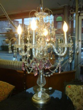 Four Arm Glass Prism Table Chandelier: