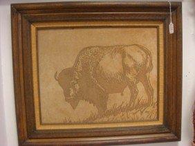 Sheplers Framed Suede Buffalo Signed J BURD II: