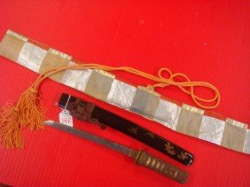 Japanese Tanto Knife With Lacquered Sheath And Cov