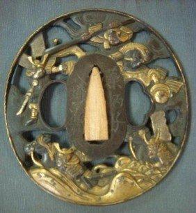 Japanese TUSBA, Sword Guard, Edo Period In Case: