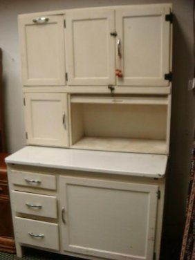 White Painted Hoosier Style Kitchen Cabinet: