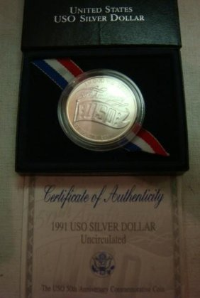 1991 USO Silver Dollar, Uncirculated: