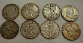 8 Silver Barber, Liberty And Franklin Half Dollars