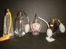 Four Glass Perfume Atomizers Including DAUM France: