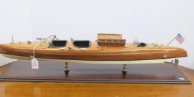 "Wooden Model Of Chris Craft ""barrelback"" Runabout:"