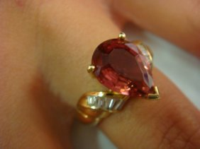 18kt Rubellite Tourmaline Ladies Ring:
