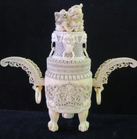 Vintage Chinese Carved Ivory Piecework Covered Urn: