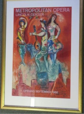 """Marc Chagall Hand Signed """"carmen"""" Lithograph Poster:"""