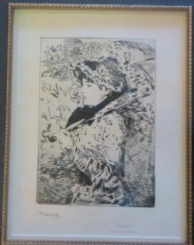 """Manet """"jeanne"""" Aquatint Etching, 5 States:"""