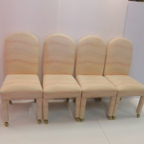 Four Upholstered Parsons Chairs: