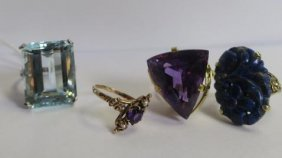 Four Colored Stone Rings: