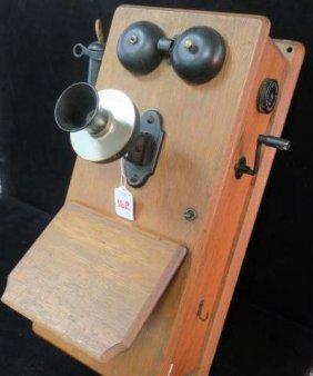 Vintage Stromberg Carlson Oak Cased Crank Wall Phone:
