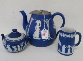 Wedgwood Cobalt Jasperware 3 Pc. Tea Set: