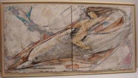 L. Biro Signed Nude Riding Dolphin, Mixed Media: