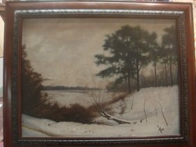 "Charles Kello ""snowy Landscape"" Oil On Canvas:"