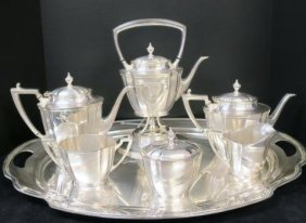 Eight Piece Silver Plated Premier Tea Set On Tray: