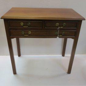 Three Drawer Mahogany Side Table: