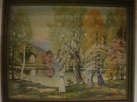 Oil On Canvas Victorian Ladies At Lakeside:
