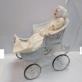 Hertel & Schwab Bisque Head Baby Doll & White Stroller