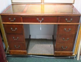 Double Pedestal Knee Hole Desk With Leather Top:
