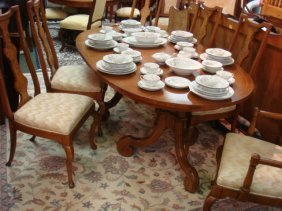 Oval Double Pedestal Dining Table And Six Chairs: