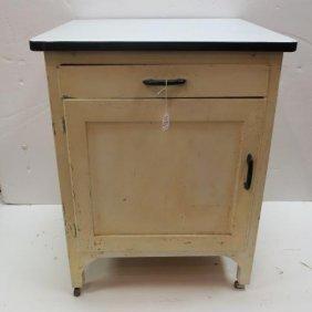 Hoosier Companion Cabinet With Enamel Top: