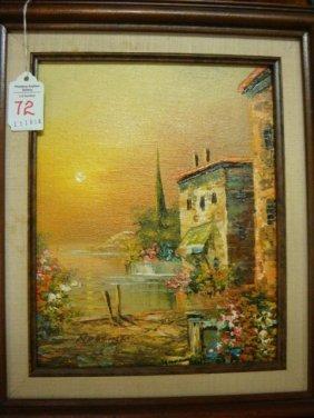 Signed Colorful European Landscape Oil On Canvas: