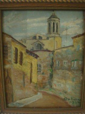 Artist Signed European Cityscape Oil On Canvas: