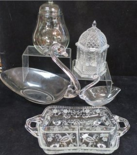 Etched Glass Relish, 2 Swans And 2 Lidded Jars: