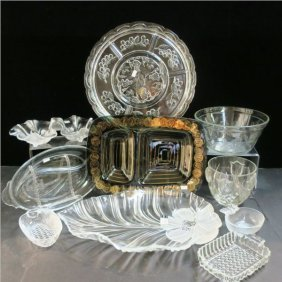 Eleven Pieces Of Assorted Pressed Glass Tableware: