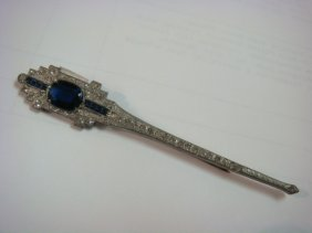 Unusual Art Deco Rhinestone Fashion Pin: