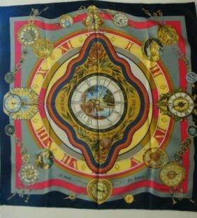 Hermes Clock Motif Scarf In Original Box: