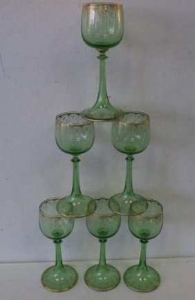 Set Of Six Green Crystal Wine Stems With Gilt Trim: