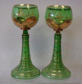 Pair Of Moser Bohemian Hollow Ring Stem Wines: