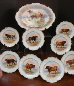 Rare Hand Painted Limoges 9 Pc Beef Set Signed Duboise: