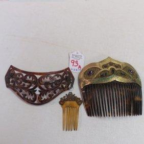 Three Vintage Hair Combs: