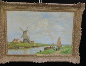 Dutch Landscape Oil On Canvas Signed J Maris: