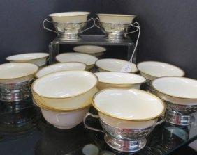 12 Webster Sterling Handled Bullion Cups/lenox Liner: