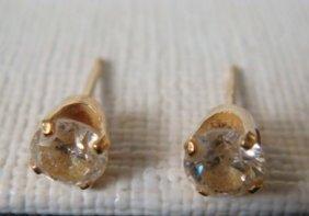 Pair Of Round Diamond Stud Earrings:
